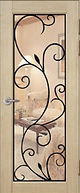 Металлическая дверь белая с наружным полимерным покрытием  и внутренней МДФ накладкой с зеркалом и ковкой
