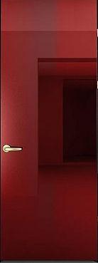 Красная глянцевая входная металлическая дверь