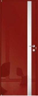Красная глянцевая входная металлическая дверь со стеклом от производителя в Москве