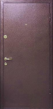 Недорогая металлическая дверь с отделкой антивандальным  полимерным покрытием.