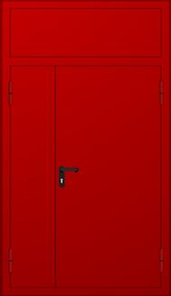 Двустворчатая противопожарная дверь с вставкой - фрамугой красная