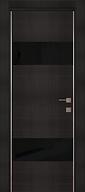 Элитная Железная входная дверь с черным стеклом и  молдингами