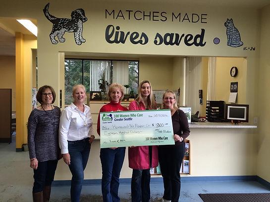 100 Women Seattle donation to Homeward Pet Adoption Center Woodinville