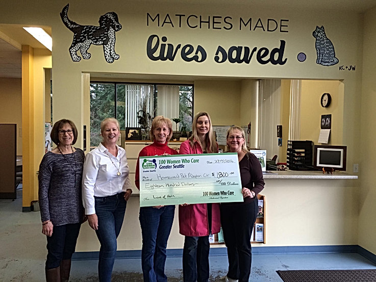 100 Women Seattle donation to Homeward Pet Adoption Center Woodinville