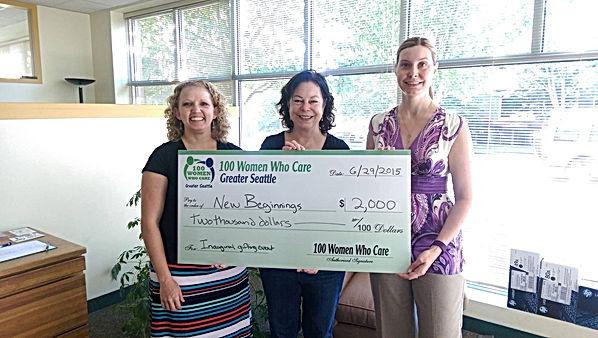 100 Women Seattle donation to New Beginnings