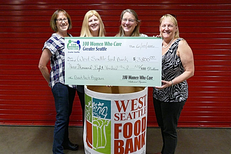 100 Women Seattle donation to West Seattle Foodbank Backpack Program