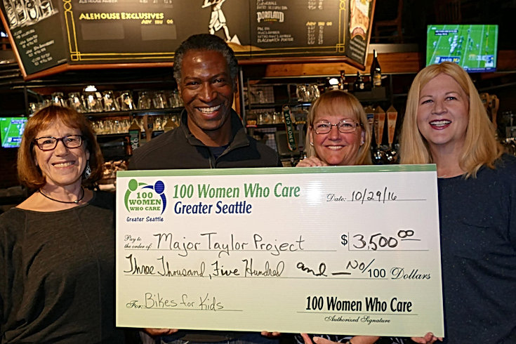 100 Women Seattle donation to Major Taylor Project Seattle Bike Club