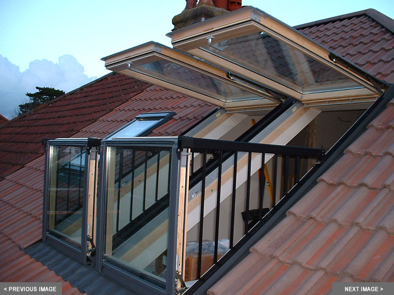 Pair of open Velux Cabrio Balcony Wi