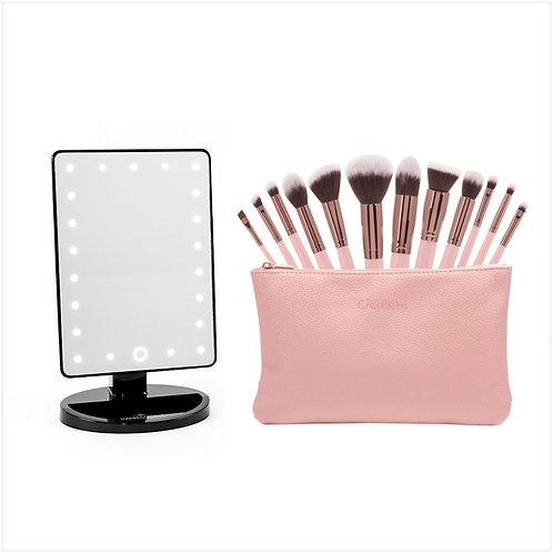Illuminating Mirror & Brush Set W/Ticket