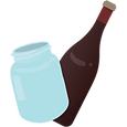 Glass jar and glass wine bottle.
