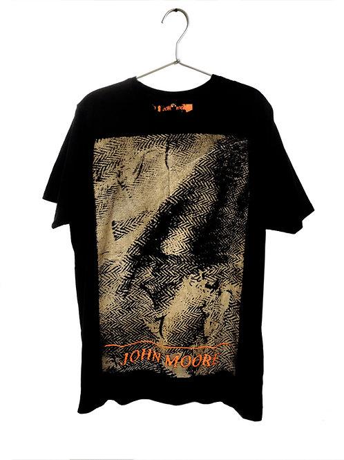 John Moore Reimagined Torn Herringbone printed T-shirt