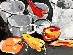 Still life with red peppers