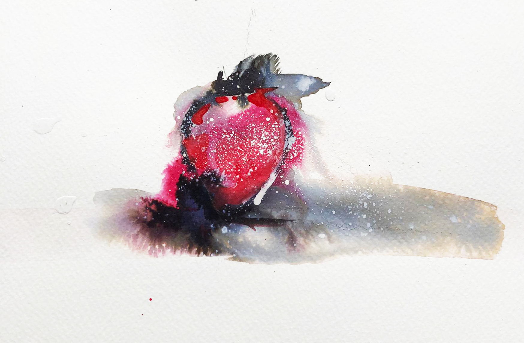 Single strawberry with spattering