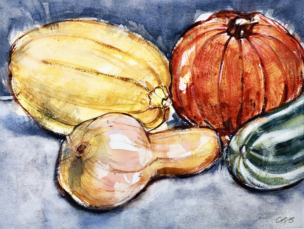Still life with pumpkin and squash
