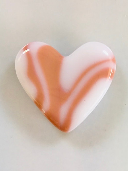 Salmon Pink and White Heart
