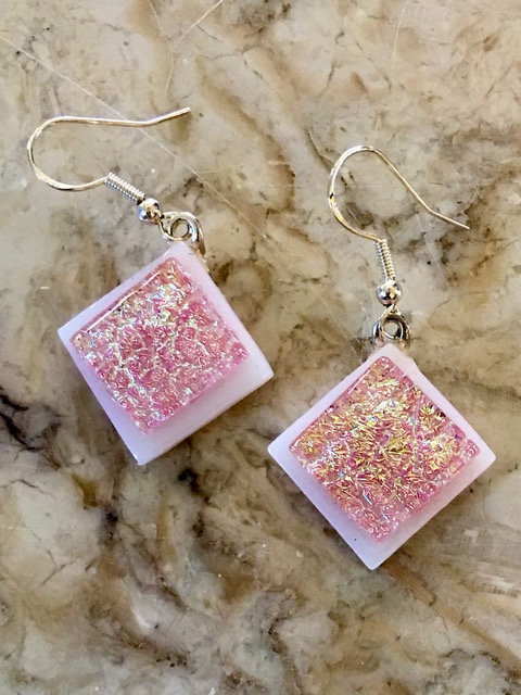 Pink Crackle on White