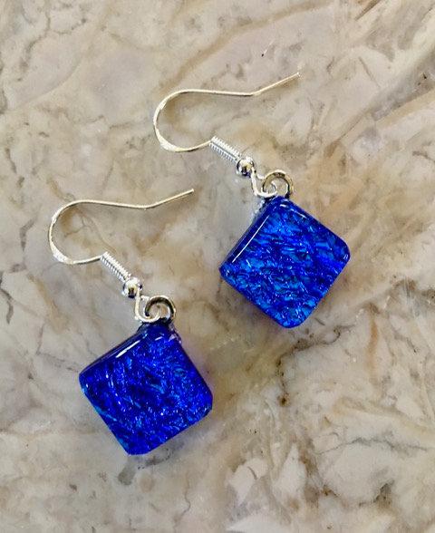 Earrings  - Blue Square Diamond Style
