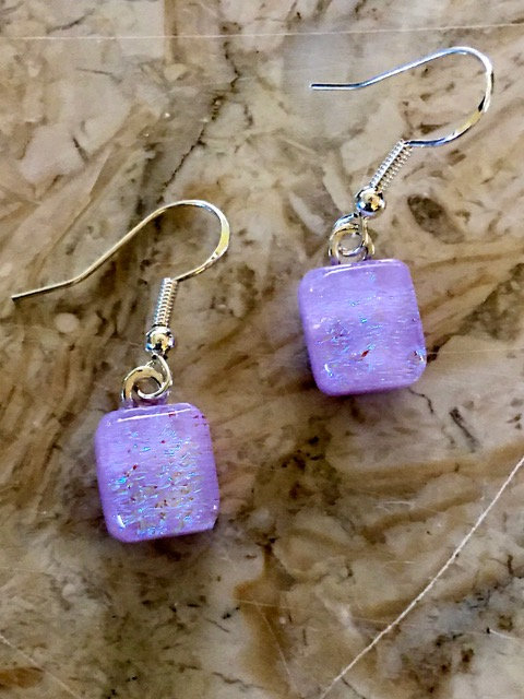 Earrings - Blue Dichroic Glass on Neo Lavender