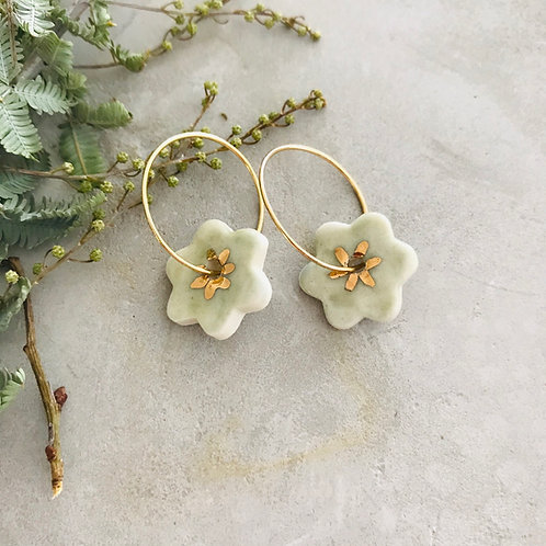 Sage flower earrings