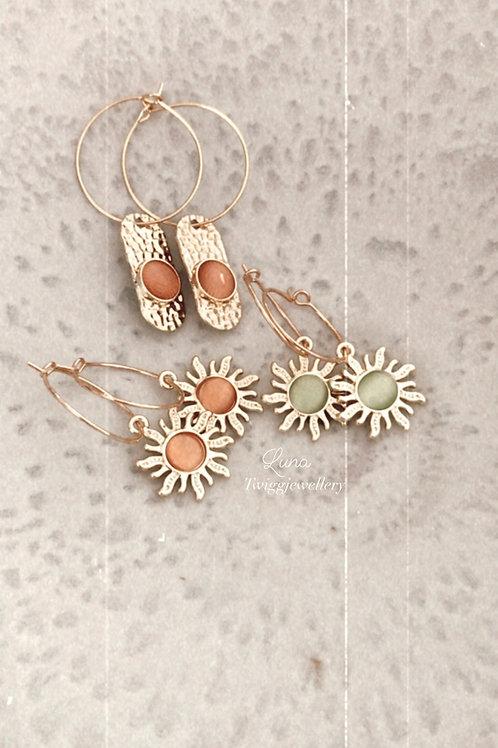 LUNA gem droplet earrings