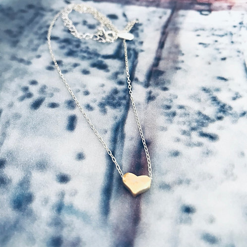 Sterling silver Gold Heart Clavicle Necklace