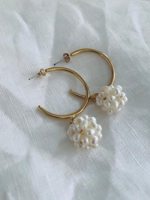 Annulus pearl cluster earrings