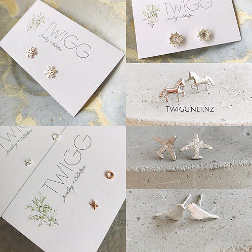 Sterling silver earrings x 10