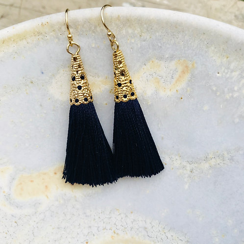 Botanical French Lace Navy Earrings