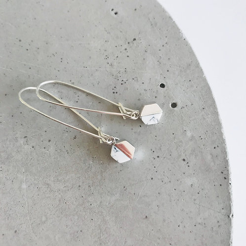 Marble Hex Kidney Hook Earrings
