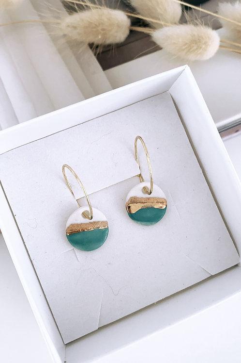 Costal teal porcelain earrings