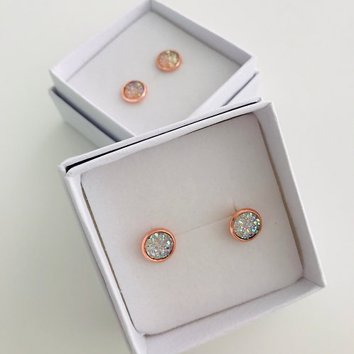 8mm Druzy resin stud earrings