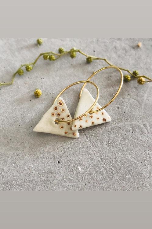 Whisper freckle tri porcelain earrings