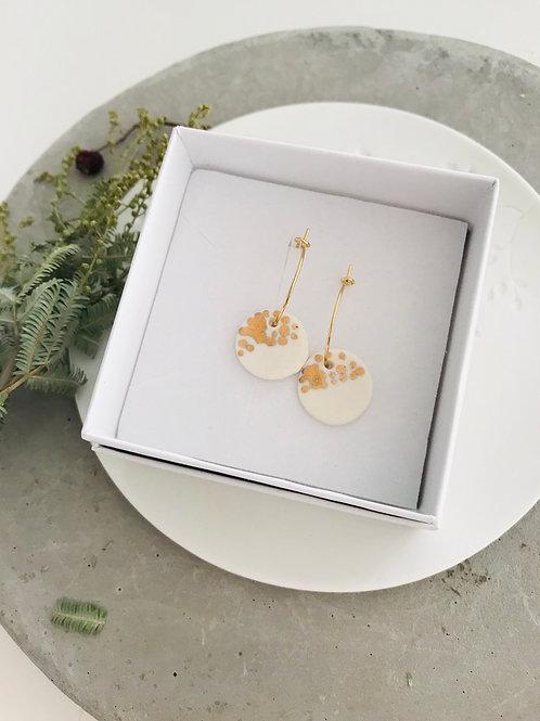 Matte freckled porcelain drop earrings