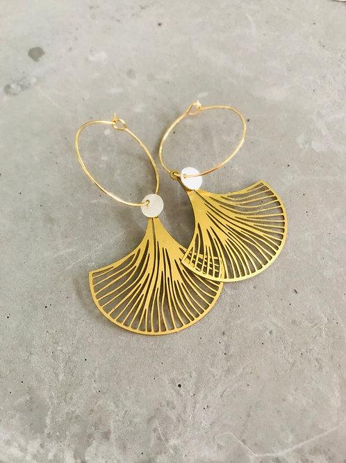 Ginkgo disc hoop earrings