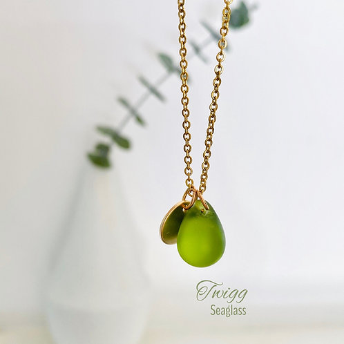 Seaglass water droplet necklace
