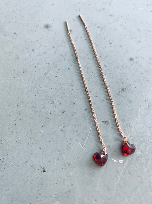 Rose gold heart thread earrings
