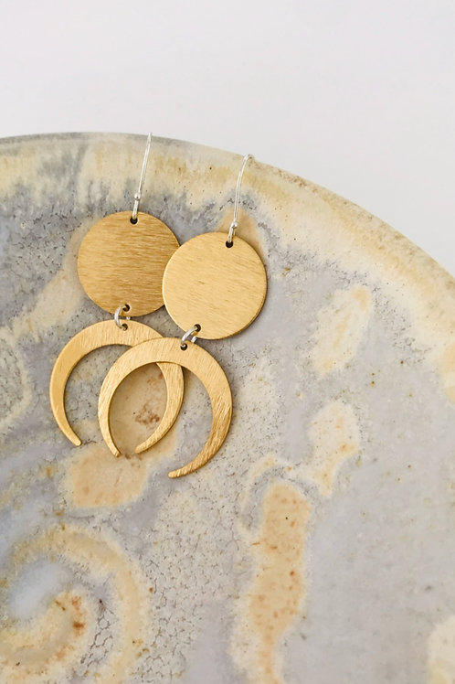 Crescent circle Satin brass earrings