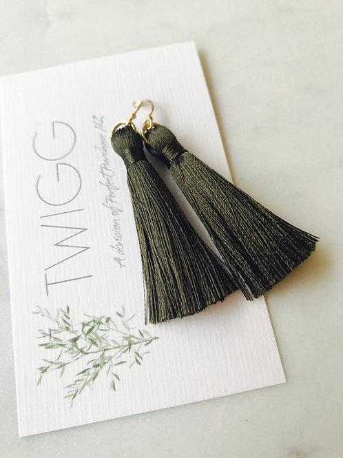 Olive Tread Tassel Earrings