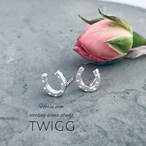 Horse shoe lucky sterling silver earrings