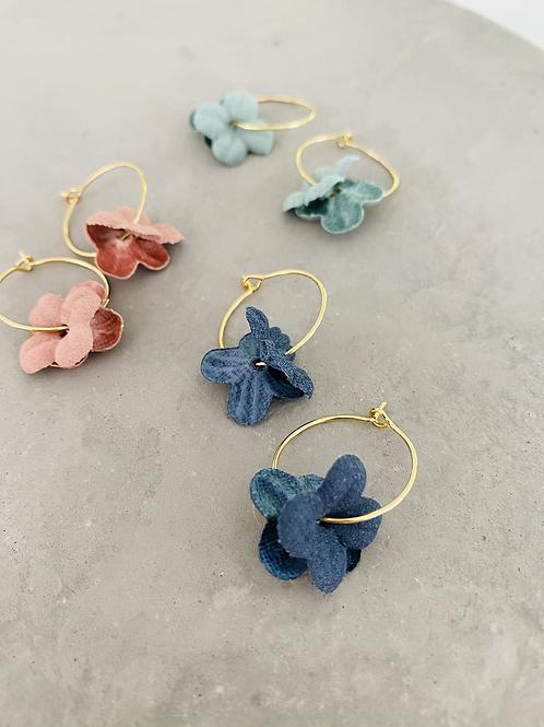 Floral Fabric Flower Earrings