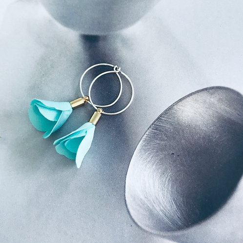 Turquoise floret earring