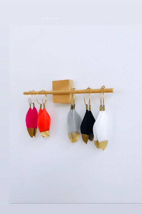 Feathered hoop earrings