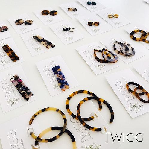 x 6 Tortoiseshell earring retail mix - best sellers