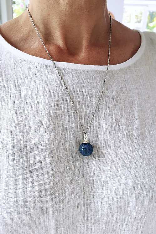 Blue lupis  pendant necklace
