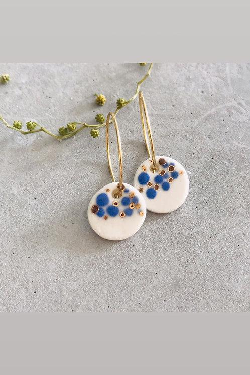 Confetti  gold + blue earrings