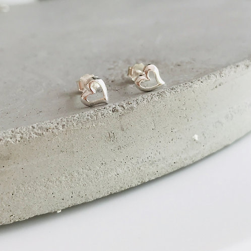 Sterling silver heart stud earrings ❣