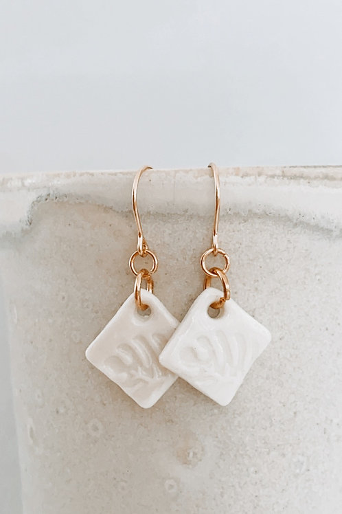 Monstera sage porcelain earrings