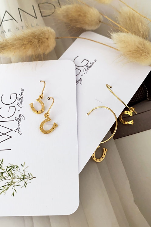Horse shoe hoop  gold earrings
