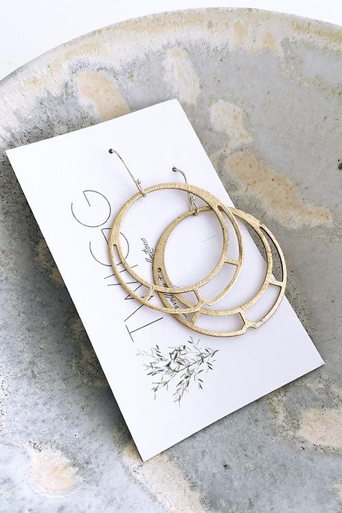 Barred circle Satin brass earrings