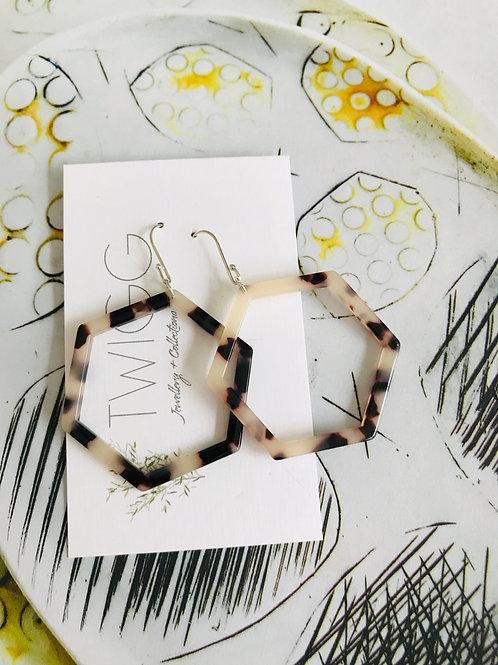 Tort hexagon earrings
